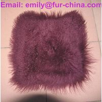 Dyed Single Color Mongolian Fur Cushion thumbnail image