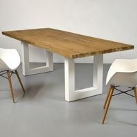 Reclaimed Teak Table WHITE DOFF Iron with Laminated Top Table 200