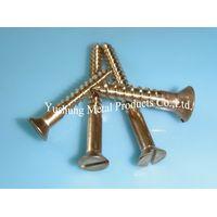 "#24 x 4"" Silicon Bronze Screw for Wood Slot Flat Head"