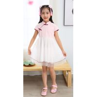 Girl summer short sleeve mandarin colar one piece sets Tang suit Chinese traditional Chinese cotton thumbnail image