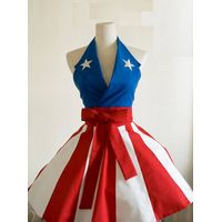 Super Hero Captain America 100% cotton Black sexy woman cosplay retro apron