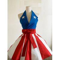 Super Hero Captain America 100% cotton Black sexy woman cosplay retro apron
