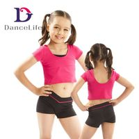 Kid's Wide Neck Cropped Children's Ballet Dance Tops, Various Colors Available