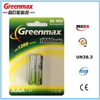 Long life 1.2v aaa 1000mAh nimh rechargeable battery