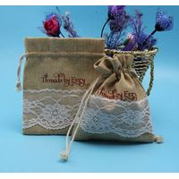 Cheap Jute Drawstring Burlap Wedding Favor bags with Logo