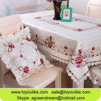 Toyoulike Beige Polyester Cutwork Embroidery Dining Table Cloths Chair Cover Set Table Runner