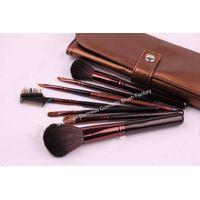 7-piece Travel Cosmetic/Makeup Brush Set, Nylon Hair, Wood Handle, Aluminum Ferrule