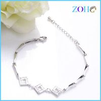 Graceful hollow square rhinestone bracelets thin chain handmade bracelets accessories for ladies