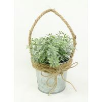 Artificial flower herb in tin pot
