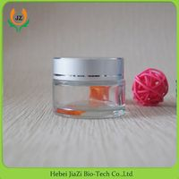 50g clear glass cosmetic jars with sliver aluminum screw cap