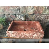 Coral red Marble Bath rectangle sinks stone wash basin