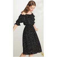 Sweet show shoulder star flounce edge niche dress