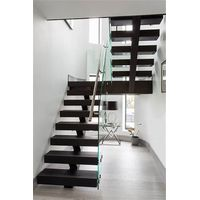 Mono Wood Staircase With Steel Glass Railing