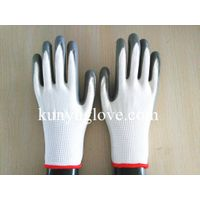 13 Guage white liner with grey nitrile coating gloves 3 level cut resistant glove thumbnail image