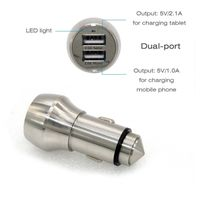 Steel Daul Smart Rapid USB Port Car Charger with Safety Hammer Function for iPhone and Android Devic