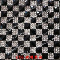 24*40cm black Rhinestone mesh Rhinestone+Glass