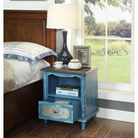 American Vintage wooden bedside cabinet night stand table