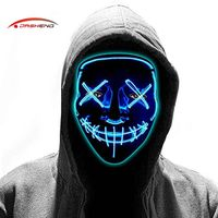 Carnival Dj Cosplay Scary Rave Horror Glow Neon Light Up Flashing Led El Wire Halloween Party Mask thumbnail image