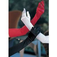 Sexy Long Stretchy Evening Gloves Opera Style, White / Red thumbnail image