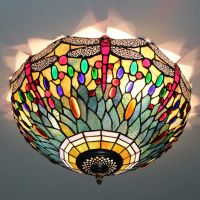 Tiffany style dragonfly ceiling lamp leaded glass ceiling light