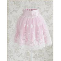 SK090 EMBROIDERY LACE HIGH WAIST SKIRT thumbnail image