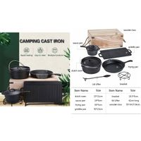 Private Label 6pcs Outdoor Camping Cast Iron Cookware Set