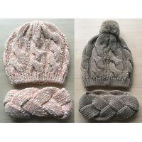Winter Acrylic DOT Yarn Knitted Beanie/ Hat/ Headband Set