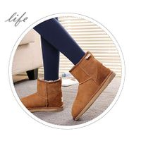 Fashion Ladies Winter Sheepskin Ankle Boots in Chestnut