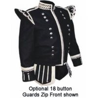 BLACK HIGHLAND DOUBLET SILVER PIPING AND THISTLE BUTTONS