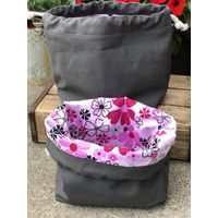 Grey Waxed Canvas Drawstring Bag Cosmetic Bag Storage Bag for toy