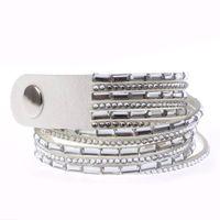 Fashion Women Crystal Leather Bangle Cuff Bracelet thumbnail image