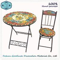 Hand Painted Flower Ceramic Mosaic Top Metal Patio Bistro Garden Set thumbnail image
