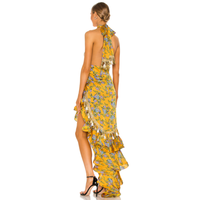 New Design Yellow Floral Print Summer Sleeveless Halter Cut Out Tassel Backless Asymmetric Women Lon