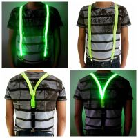 Men's light up LED glowing suspenders for safety at night