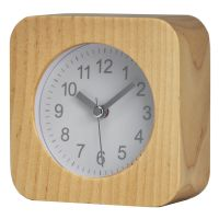 Handmade Classic Small Square Wood Silent Desk Alarm Clock with Desk Lamp for Home
