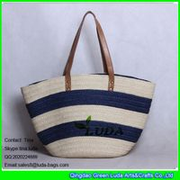 LDZS-314 striped tote shopping bag fashionable paper straw beach bags