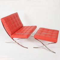 Italian leather Aniline leather white Barcelona chair and ottoman Barcelona chair replica thumbnail image