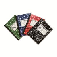 marble design 8mm Ruled composition book with red margin round corner sewing binding with black type thumbnail image