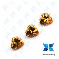 Wuzhou hot sale synthetic champagne heart shape cubic zirconia