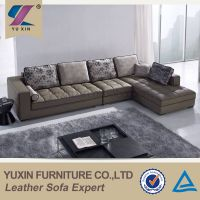 L-shaped corner genuine leather sofa