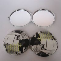 Compact pocket mirror  with color logo  for round shape thumbnail image