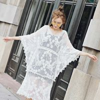 Lace Perspective Blouse Dress Long Style Sunscreen Lace Hollow Dress One Piece Dress