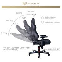 VICTORAGE Echo VE Series PU Leather Office Chair Home Seat(Black Diamond) thumbnail image
