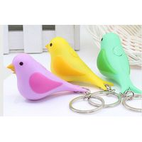 Bird shape LED keychain with sound