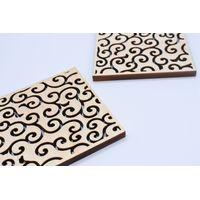 Natural Wooden Handmade Coaster Made of Nikko Cypress Drinkware Japanese Patterns thumbnail image