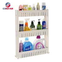 Plastic mobile shelf organizer with 3 large baskets slim slide out storage rack narrow gap spaces
