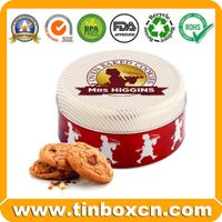 Round metal biscuits tin can cookies tin box
