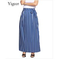 High Waist Tie or Elastic Tie Vertical Stripe Skirt