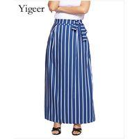 High Waist Tie or Elastic Tie Vertical Stripe Skirt