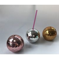 20oz Hot-Sale Plastic Drinking Ball Straw Cup, BPA Free Plastic Disco Ball Shape Cup for Promotion,